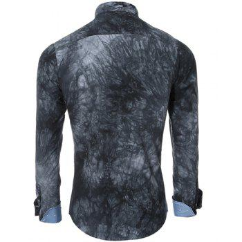 Abstract Tie-dye Patter One Pocket Shirt Collar Long Sleeves Men's Slim Fit Shirt - GRAY 2XL