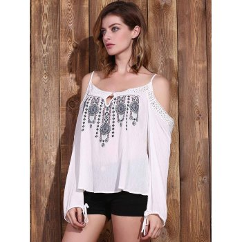 Graceful Spaghetti Strap Long Sleeve Embroidered Cold Shoulder Women's Blouse - WHITE WHITE
