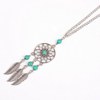 Charming Round Beads Feather Sweater Chain For Women - SILVER