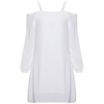 Long Sleeve Cold Shoulder Tunic Shift Dress - WHITE WHITE