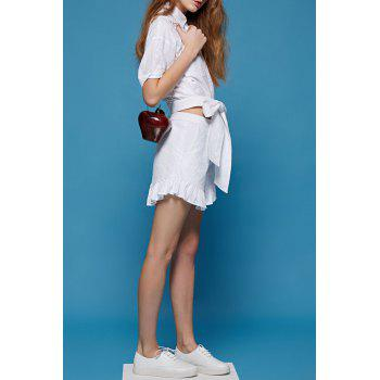 Pure Color Flounced Culotte Shorts - WHITE S