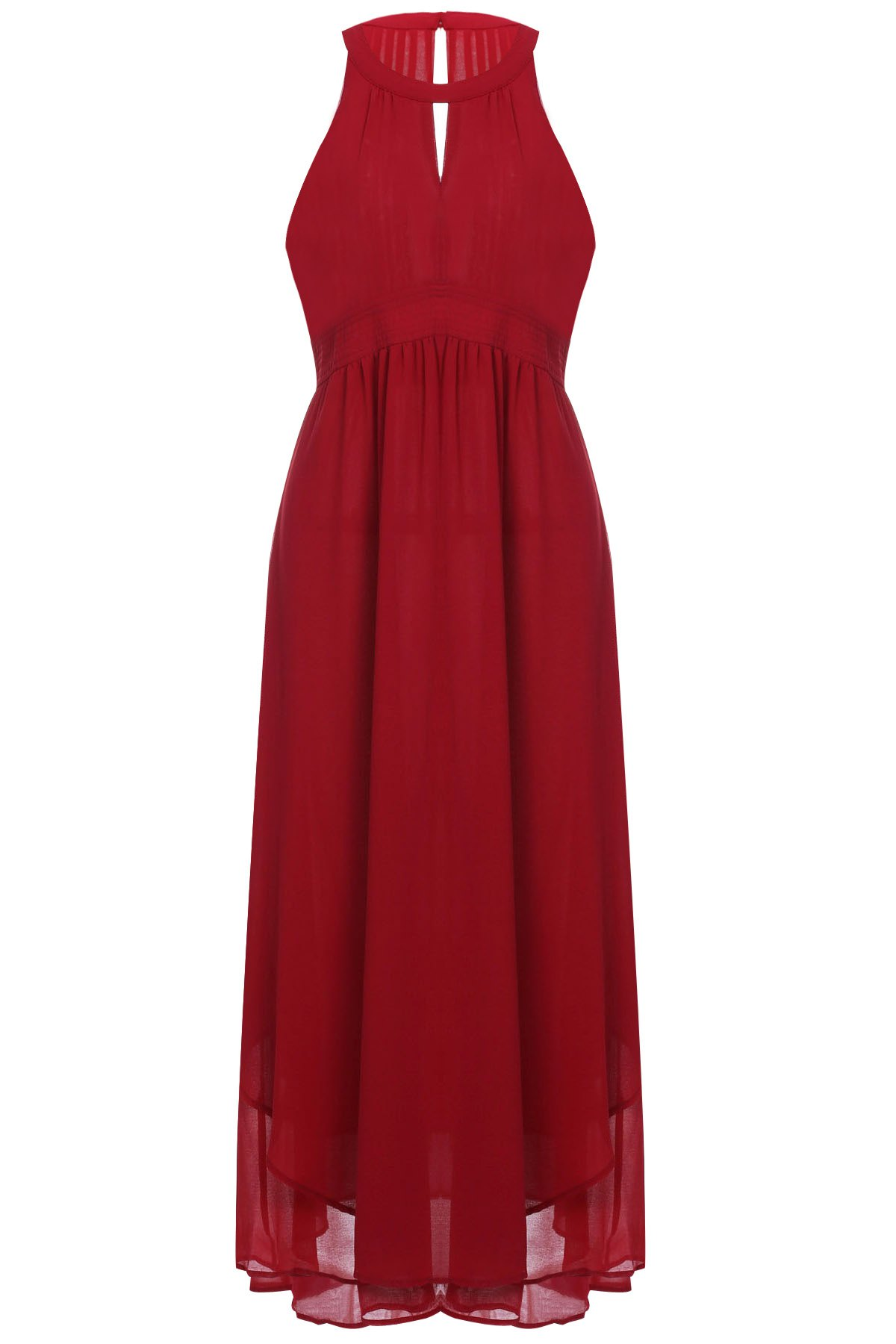 Charming Solid Color Hollow Out Sleeveless Chiffon Maxi Dress For Women - WINE RED XS