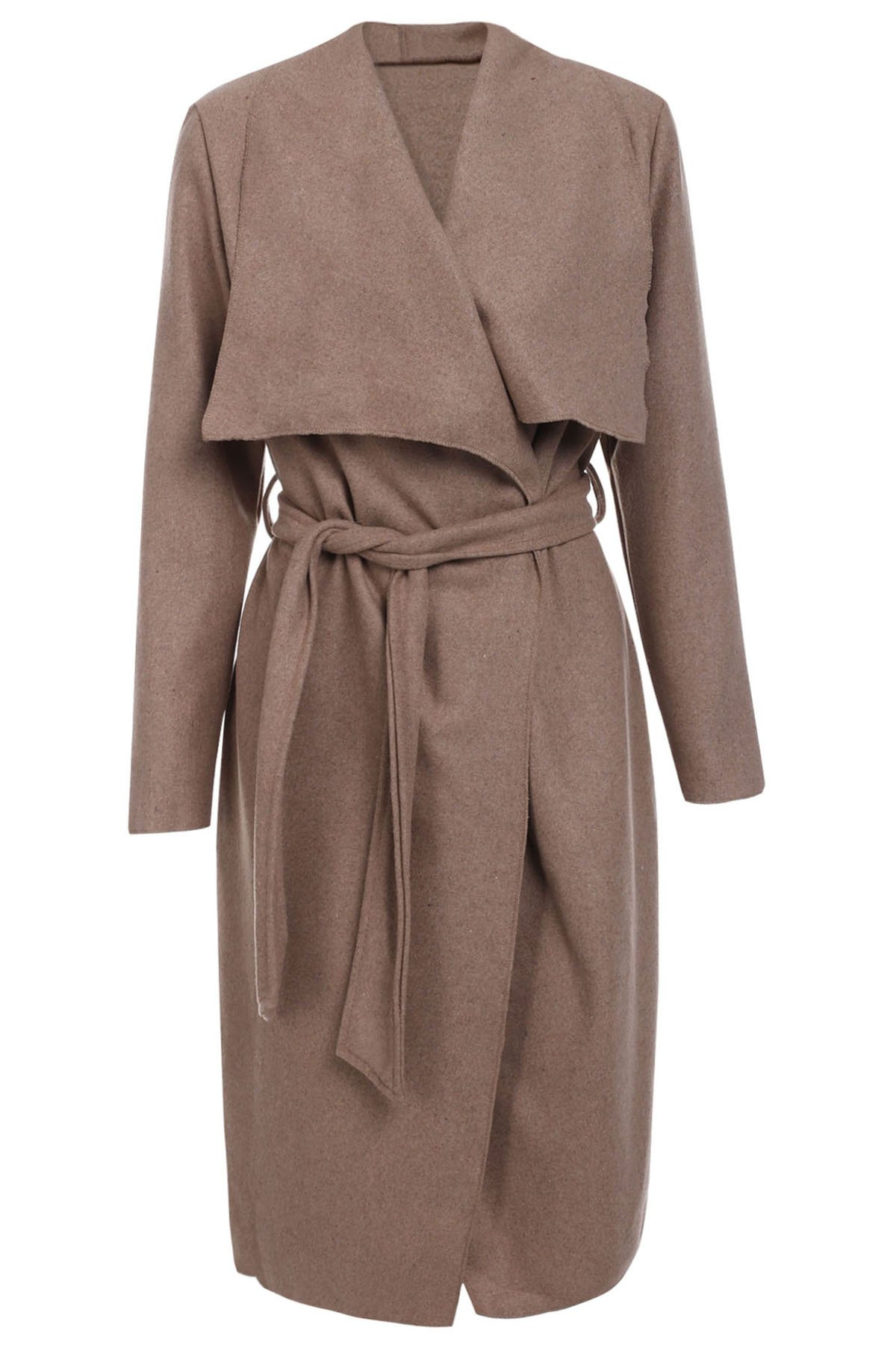 Vintage Style Long Sleeve Turn-Down Collar Self Tie Belt Pure Color Women's Coat - KHAKI ONE SIZE(FIT SIZE XS TO M)