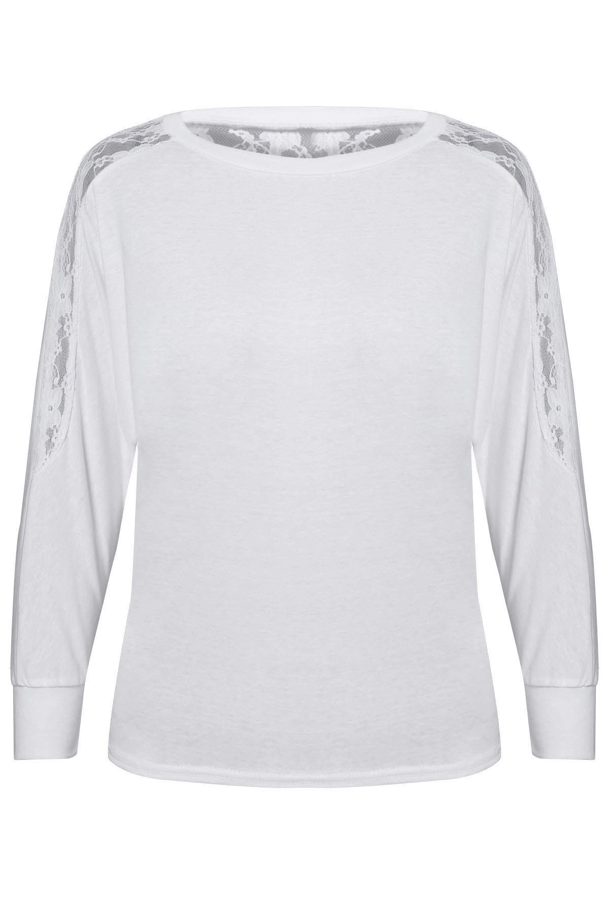 Women's Batwing Top Dolman Long Sleeve Lace Loose T Shirt - WHITE ONE SIZE