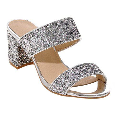 Fashion Solid Color and Sequined Cloth Design Women's Slippers - SILVER 37