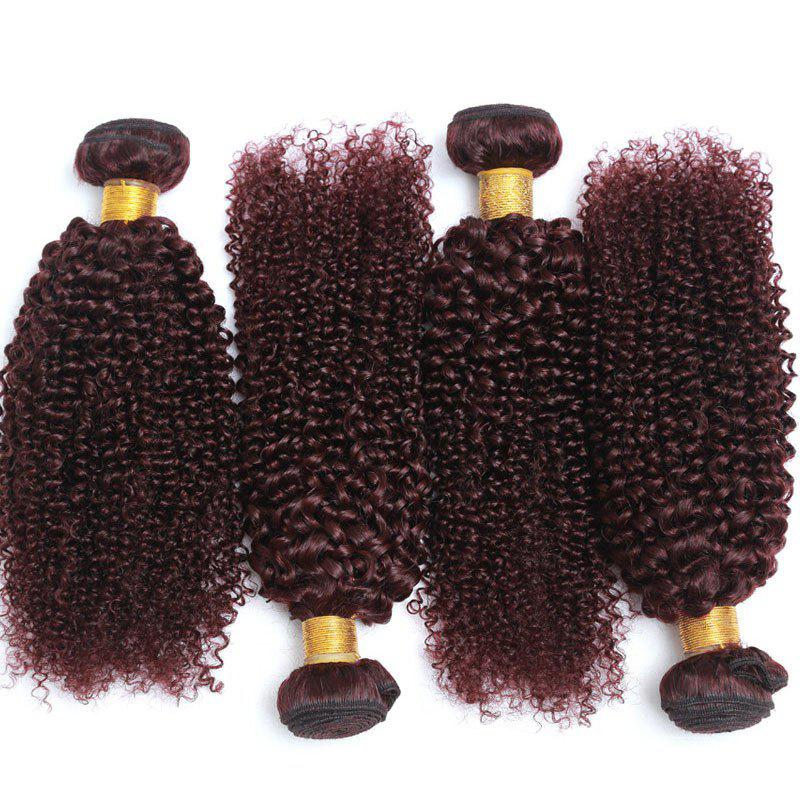 Fluffy Jerry Curly 1 Piece/Lot Stylish Maroon 6A Brazilian Virgin Hair Weft For Women - WINE RED 12INCH
