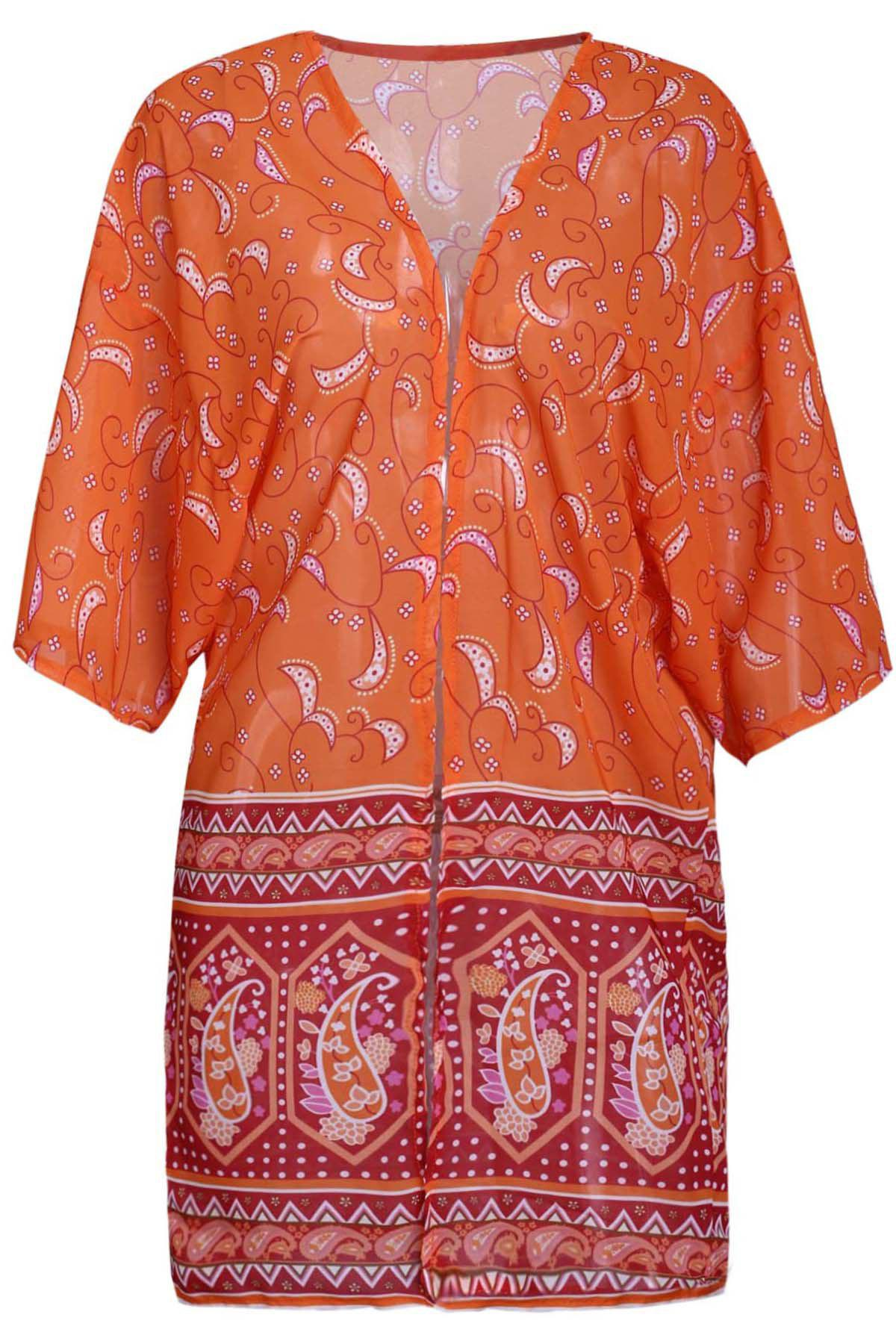 Chic Cashew Print Collarless 3/4 Sleeve Chiffon Kimono For Women - ORANGE S