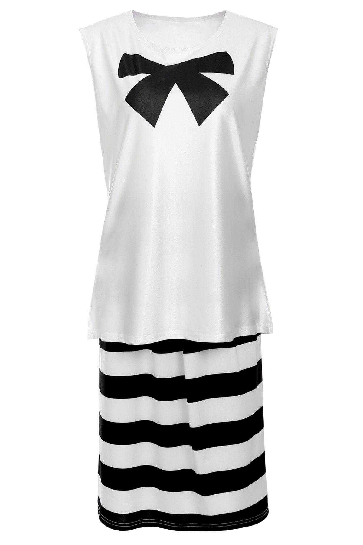 Attractive Sleeveless Bowknot Blouse and Striped Skirt Twinset For Women - WHITE/BLACK 2XL