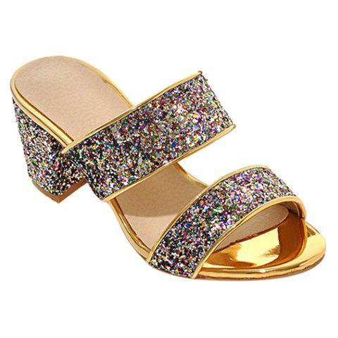 Fashion Solid Color and Sequined Cloth Design Women's Slippers - BLACK 37