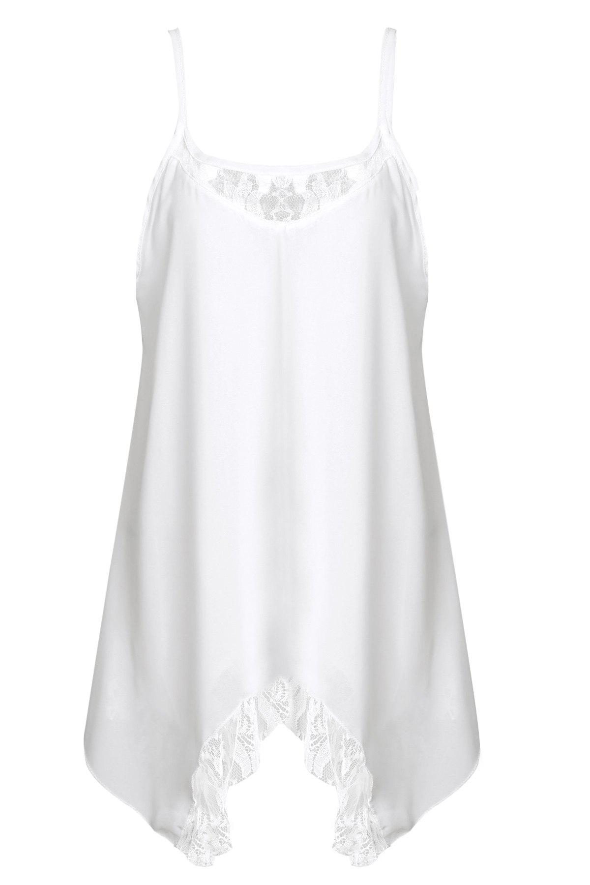 Fashionable Asymmetrical Lace Splicing Tank Dress For Women - WHITE S