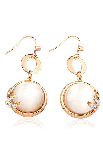 Chic Glitter Powder and Faux Pearl Embellished Pendant Earrings For Women - GOLDEN