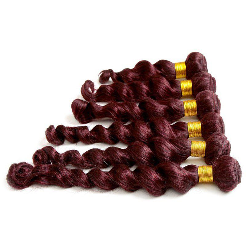 6A Virgin Hair Charming Loose Wave 1 Piece/Lot Brazilian Human Hair Weft For Women - WINE RED 10INCH