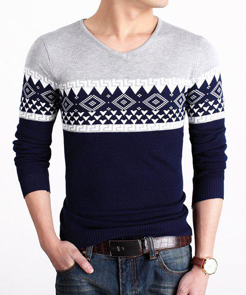 Casual V-Neck Geometric Jacquard Color Block Men's Long Sleeves Sweater - LIGHT GRAY ONE SIZE(FIT SIZE XS TO M)