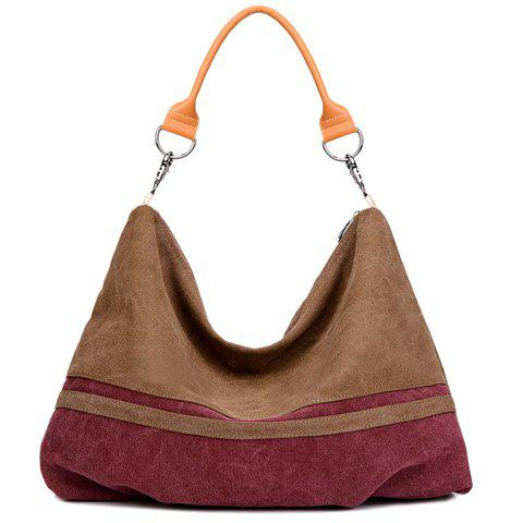 Simple Canvas and Color Matching Design Women's Shoulder Bag - BROWN