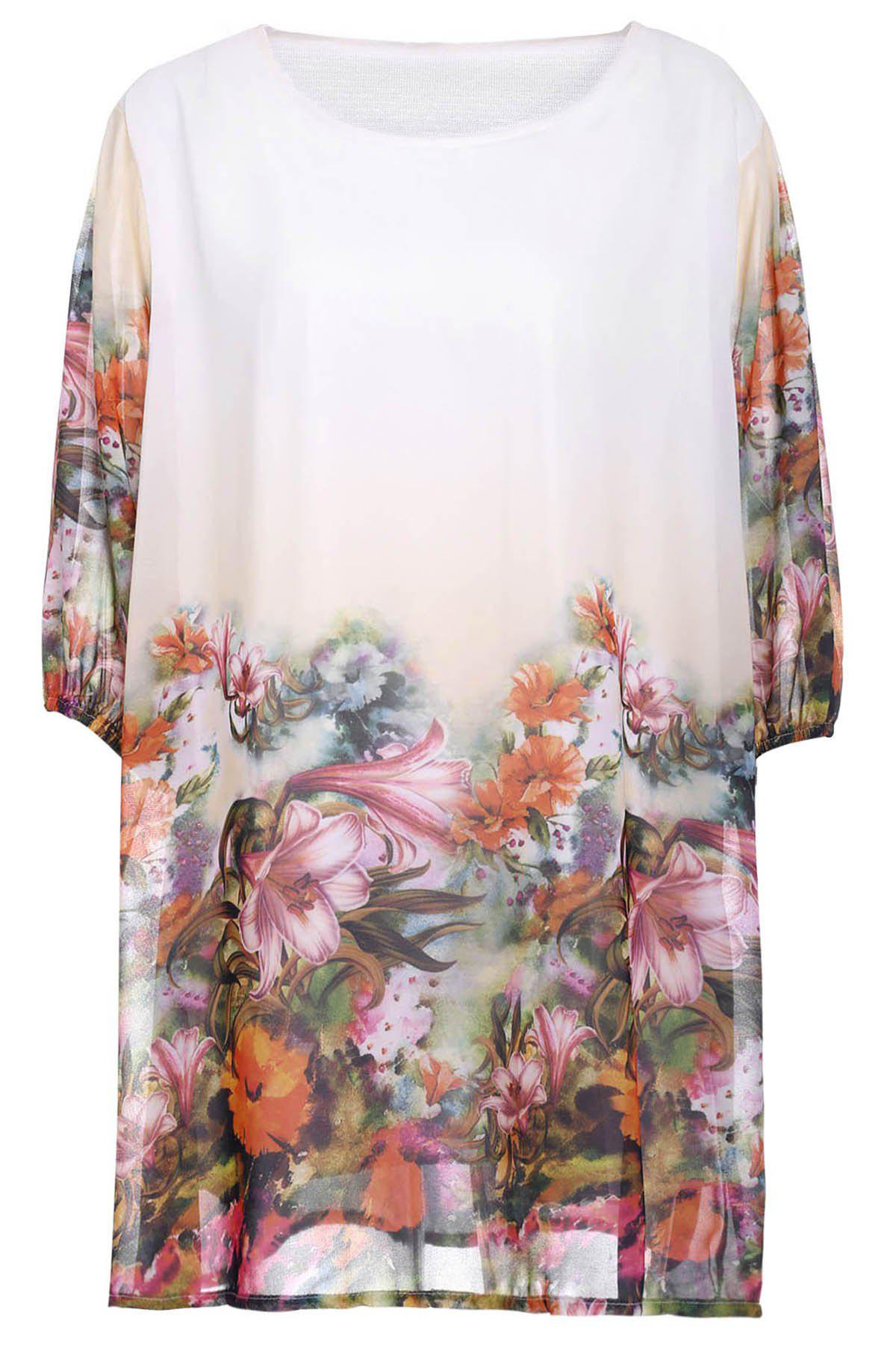 Women's Loose-Fitting Scoop Neck Floral Print Half Sleeve Dress - WHITE 2XL