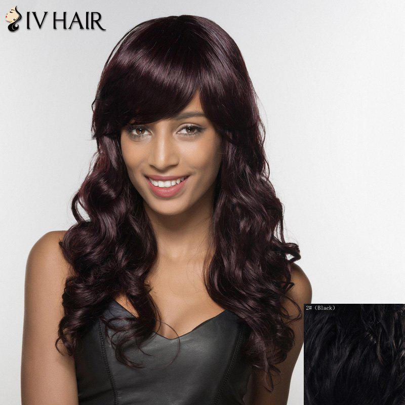 Siv Hair Curly Long Human Hair Wig For Women - BLACK