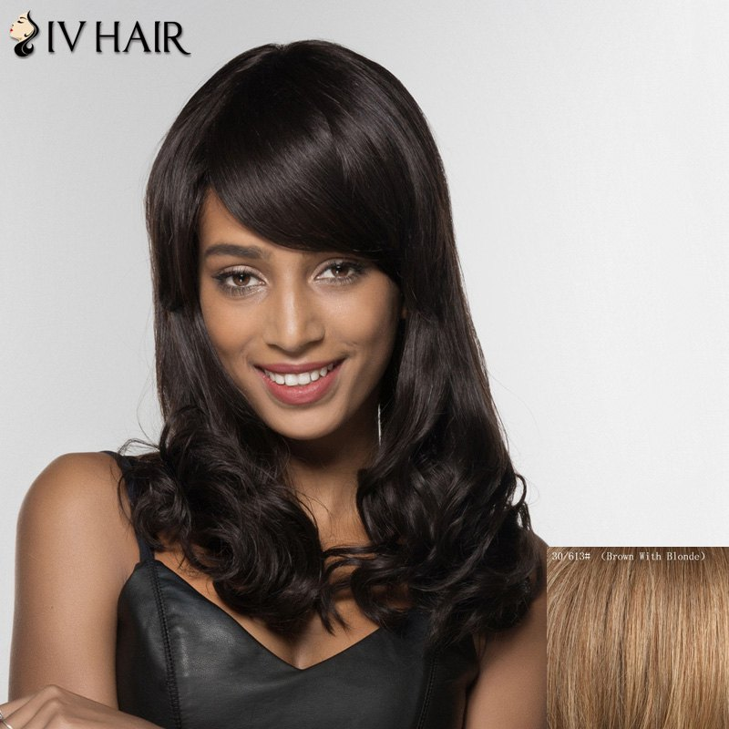Siv Hair Long Curly Human Hair Wig For Women - BROWN/BLONDE