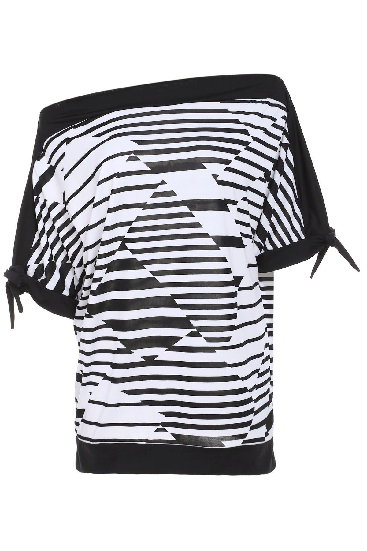 Casual Striped Short Sleeve Women's Plus Size T-Shirt - BLACK XL