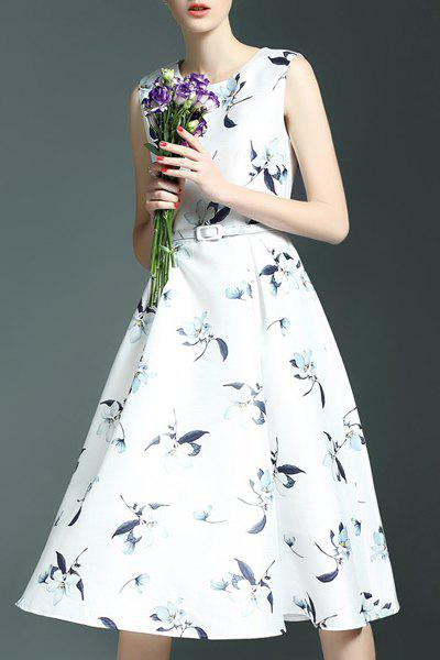 Stylish Belt-Tie Sleeveless Floral Print Women's Dress - WHITE S