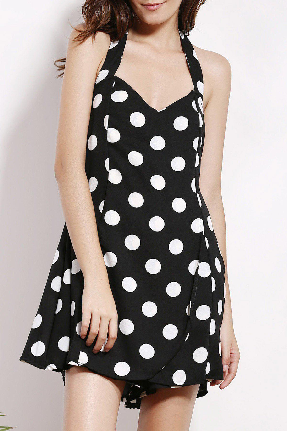 Stylish Halter Sleeveless Backless Polka Dot Women's Playsuit - BLACK 2XL