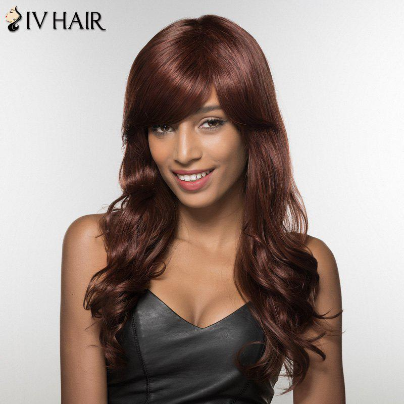 Trendy Side Bang Siv Hair Long Curly Human Hair Women's Wig
