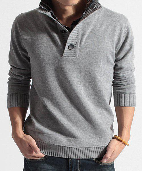 Faux Twinset Turn-down Collar Button Design Men's Long Sleeves Sweater - LIGHT GRAY M