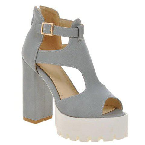 Ladylike Chunky Heel and Solid Color Design Women's Sandals - GRAY 39