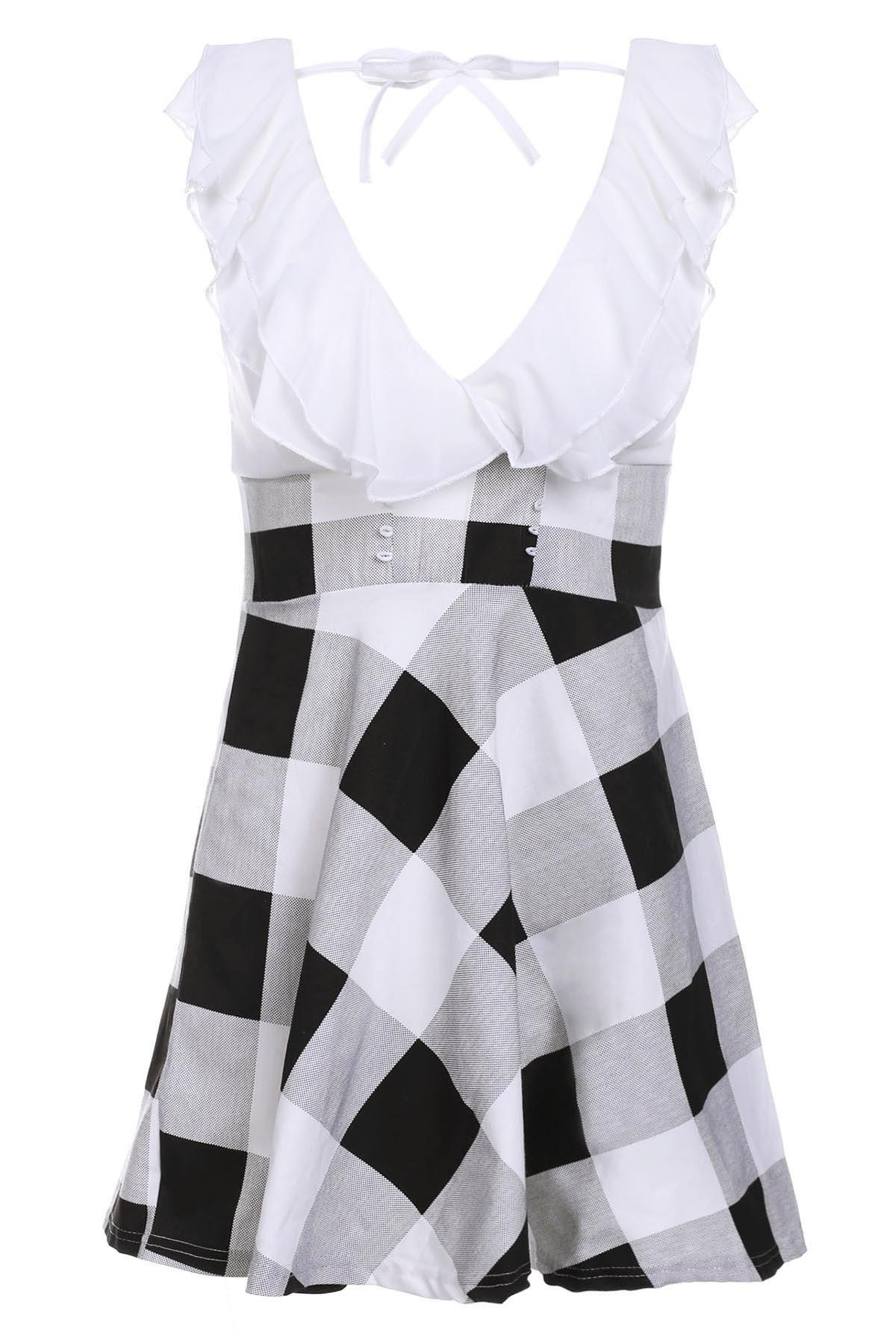 Checked Sweet V-Neck Lace-Up Selvedge Design Women's Dress - WHITE ONE SIZE