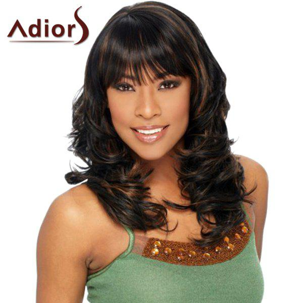Shaggy Wavy Capless Full Bang Stunning Brown Highlight Long Adiors Wig For Women - BLACK/BROWN