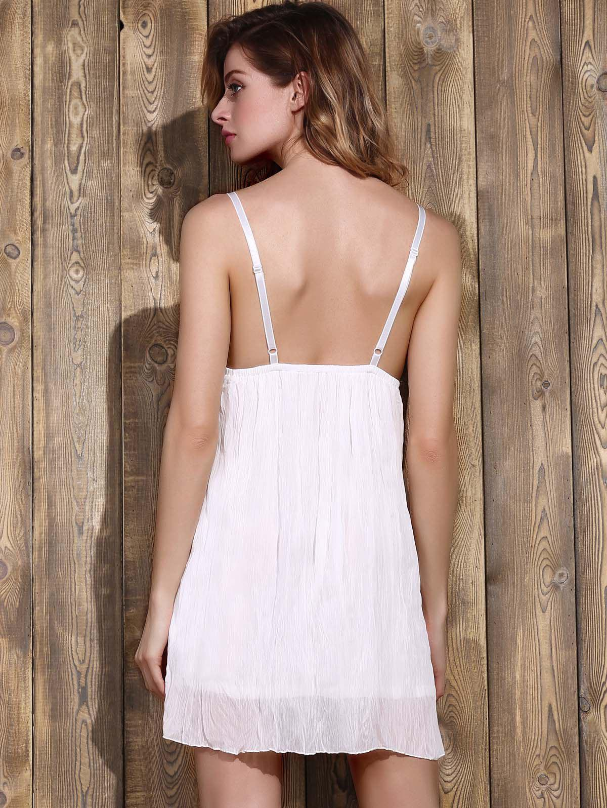 Trendy Plunging Neck Lace Bowknot Decorated Pleated Babydolls For Women - WHITE L