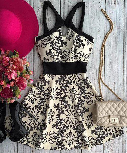 Active Spaghetti Strap Floral Print Hollow Out Women's Dress - S WHITE