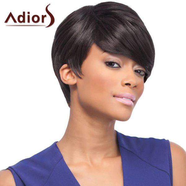 Noble Side Bang Synthetic Fashion Straight Short Women's Capless Adiors Wig - BLACK BROWN