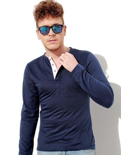 Slimming Round Neck Modish Contrast Color Placket Long Sleeve Polyester Men's T-Shirt - CADETBLUE L