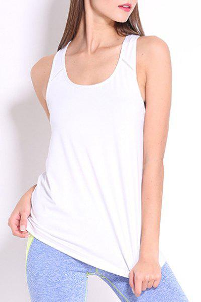 Sporty Women's U Neck Racerback Solid Color Top - WHITE L