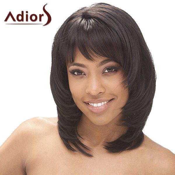 Graceful Medium Layered Side Bang Fluffy Straight Tail Adduction Synthetic Adiors Wig For Women - BLACK BROWN