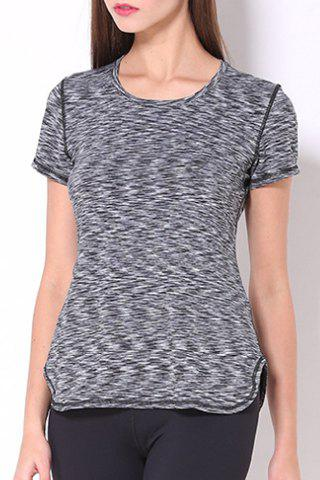 Sporty Women's Scoop Neck Space-Dyed Yoga Top - GRAY S