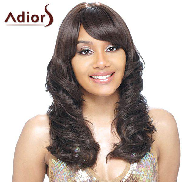 Stunning Side Bang Long Capless Shaggy Wave Black Brown Women's Synthetic Adiors Wig vogue medium dark brown synthetic shaggy wave side bang women s capless adiors wig