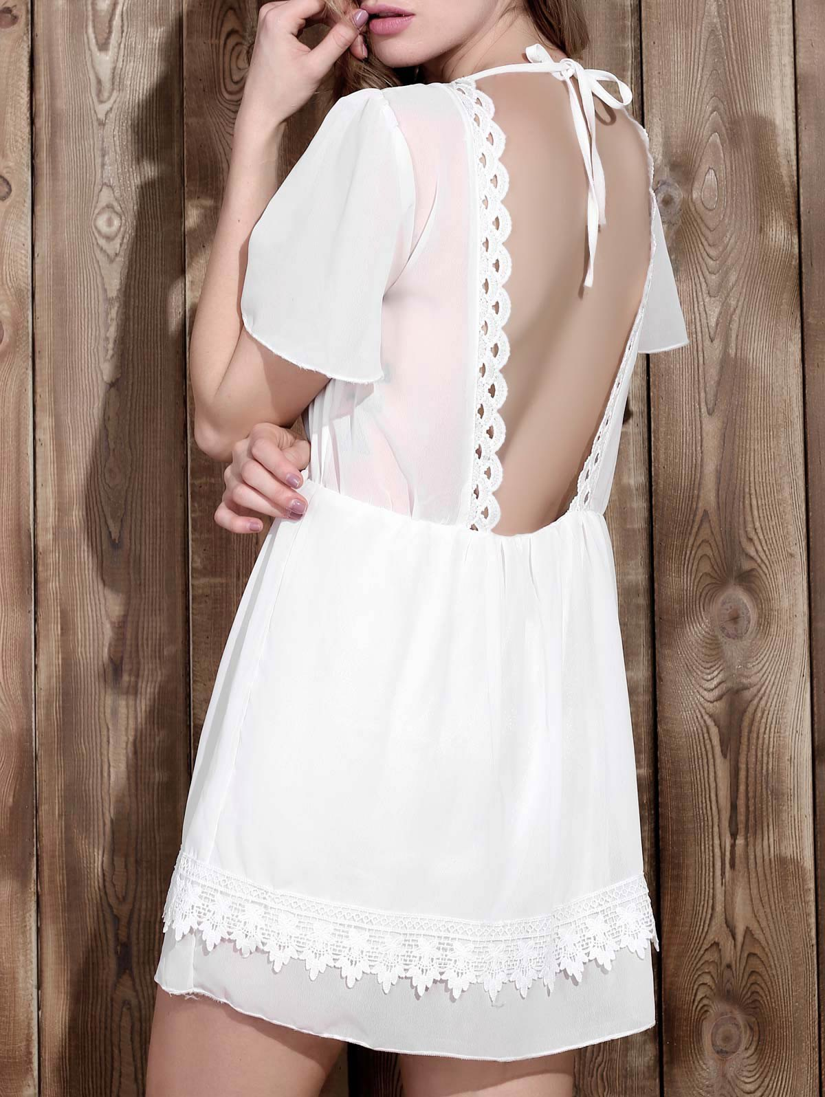 Chic V Neck Backless Lace Spliced Dress For Women