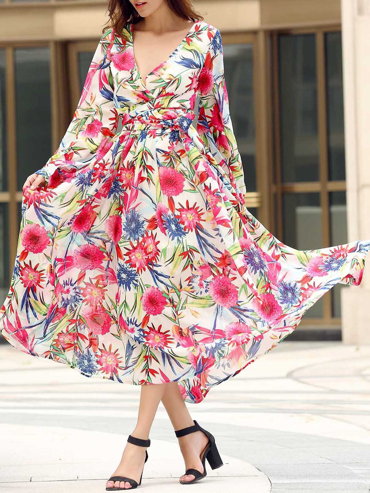 Bohemian Style V Neck Long Sleeve Colorful Floral Print Self Tie Belt Women's Dress - COLORMIX M