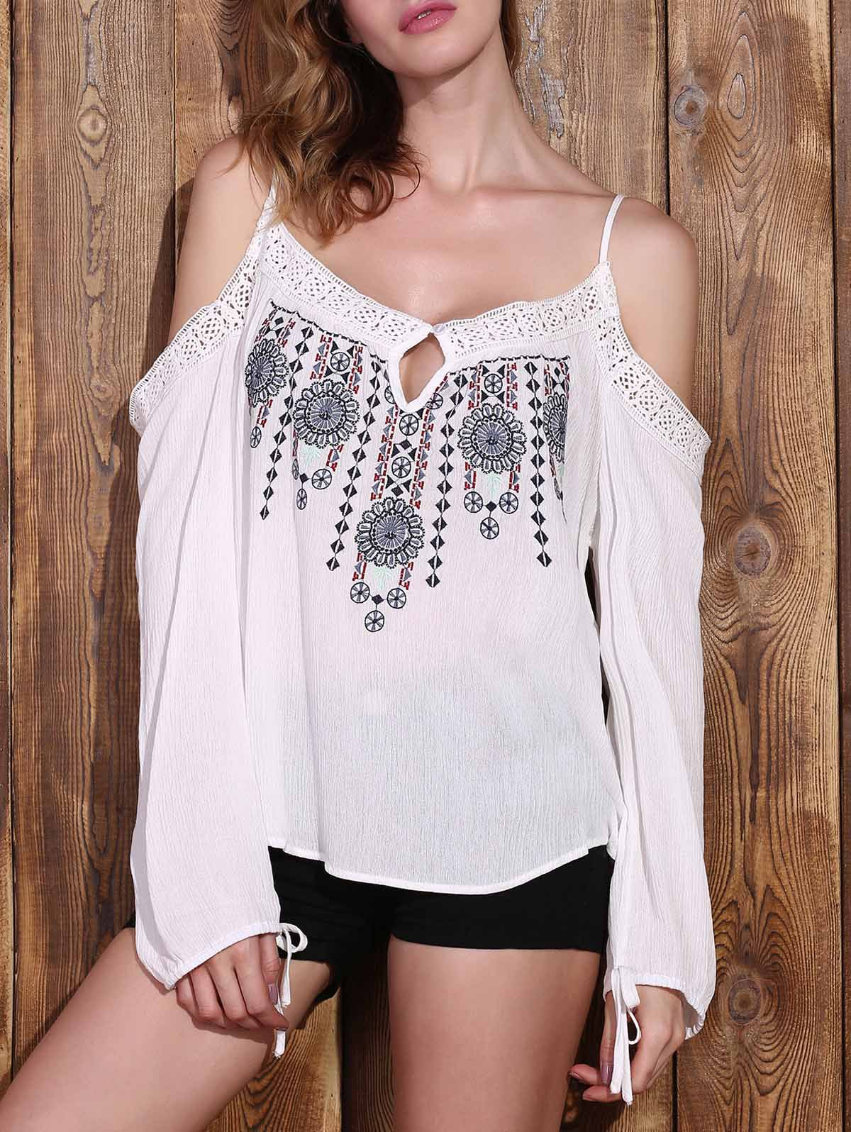 Graceful Spaghetti Strap Long Sleeve Embroidered Cold Shoulder Women's Blouse - WHITE S