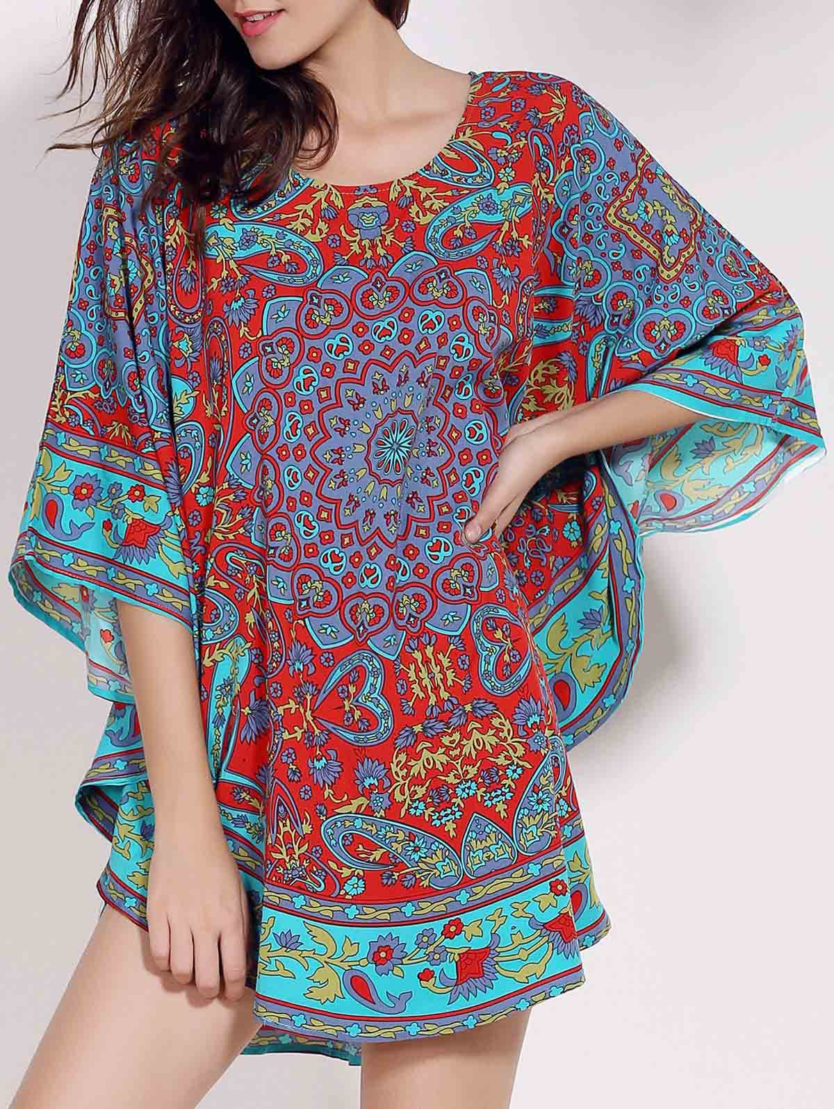 Retro Style Scoop Neck Batwing Sleeve Ethnic Print Loose Women's Dress - COLORMIX ONE SIZE(FIT SIZE XS TO M)