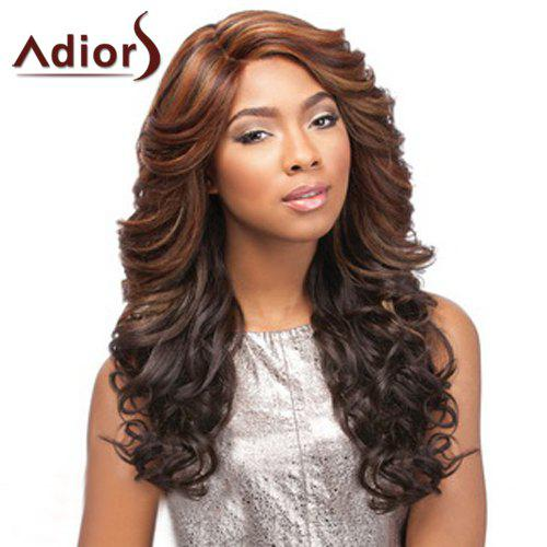 Shaggy Curly Synthetic Two-Tone Ombre Long Side Bang Capless Adiors Wig For Women - OMBRE