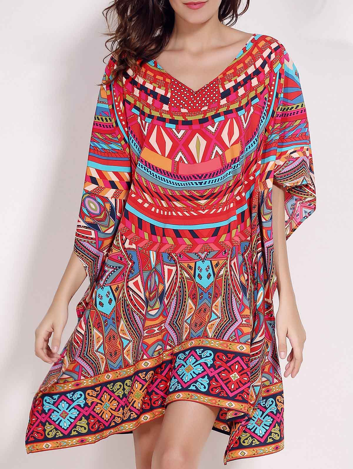 Retro Style V Neck Batwing Sleeve Ethnic Print Loose Women's Dress