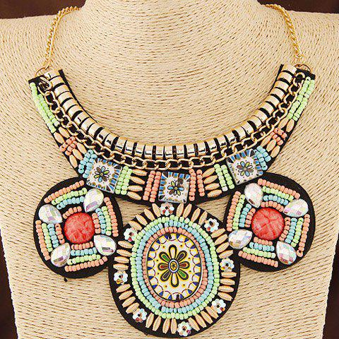 Artificial Crystals Beads Flowers Round Necklace - COLORMIX
