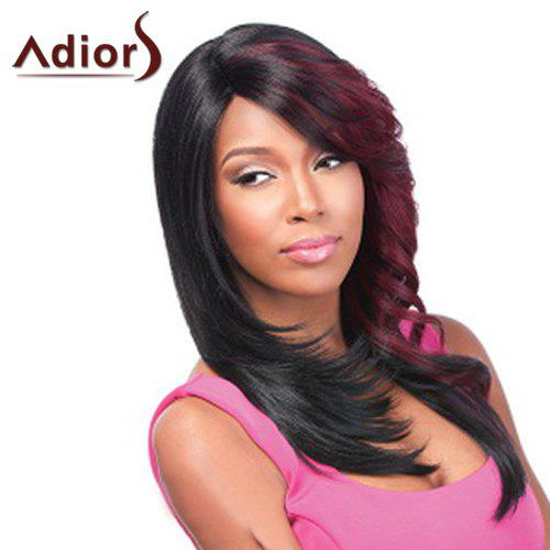 Fashion Red Highlight Long Synthetic Fluffy Natural Wave Side Bang Women's Adiors Wig - RED/BLACK