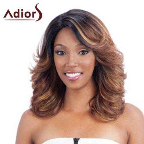 Stylish Side Bang Black Brown Mixed Synthetic Bouffant Long Wave Capless Adiors Wig For Women - COLORMIX