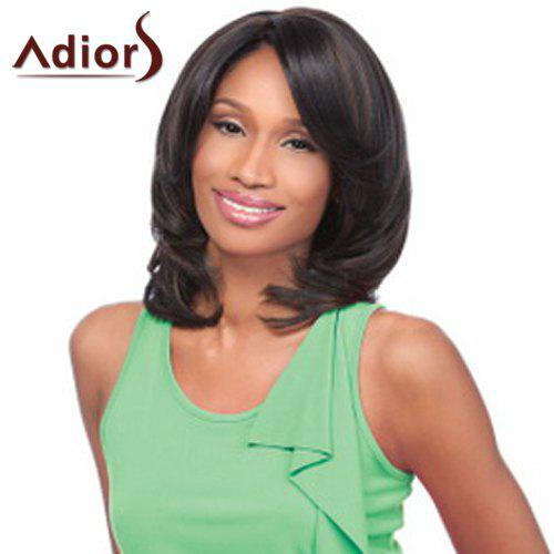 Elegant Medium Side Bang Synthetic Vogue Natural Wave Black Brown Women's Adiors Wig - BLACK BROWN
