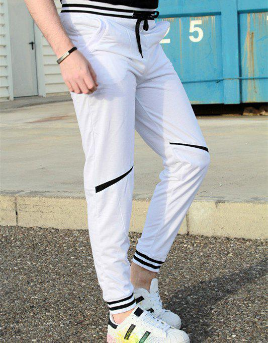 Pieds Lace-Up Fashion Color Block Rib Splicing Loose Fit faisceau polyester Sweatpants hommes - Blanc M