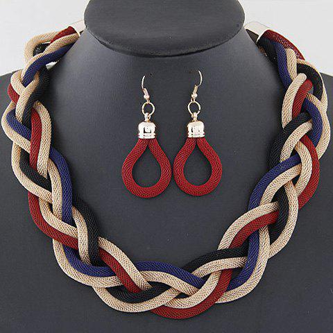 A Suit of Trendy Braided Chain Necklace and Earrings For Women - RED