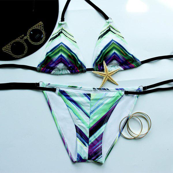 Trendy Women's Halterneck Printed   Bikini Set - COLORMIX S